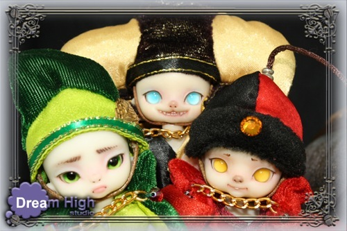 First Dream High dolls (from left) Bunko, Spooky, and Tiko full-sets