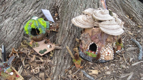 Tiny dwelling at the base of a tree