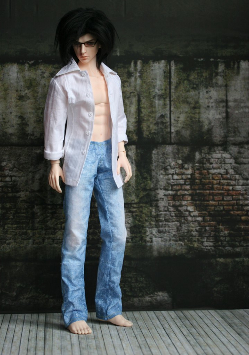 Lester with Jeans  from K.I.S.S. Kit, fur wig from pattern, printed background & floor from Virginia