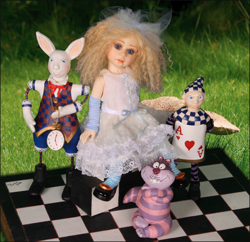 OOAK Alice with hand sculpted friends