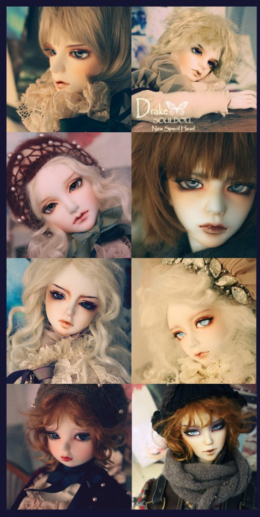 Dolls from top left: Abe, Drake, Leigh, Might, Muse, Penelope, Popo, Vero