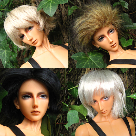 Sol in (clockwise from top left) blond, tawny fur, Silver and black wigs
