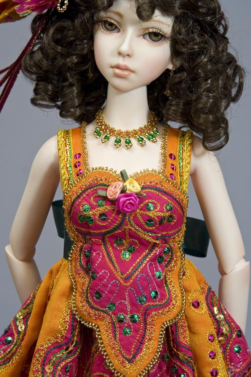 Gold seed bead picot neckline, and around edge of embroidered bodice medallion - Elfdoll Ryung