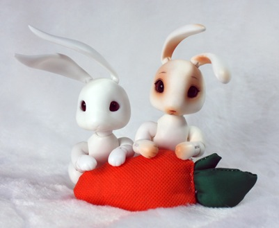 carrot (from left) blank with long ears, blushed with short ears