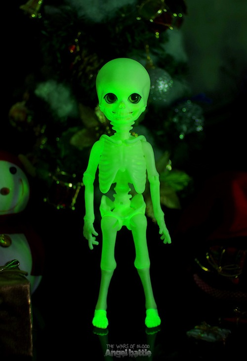 Luminous skeleton doll showing glow-in-the-dark feature