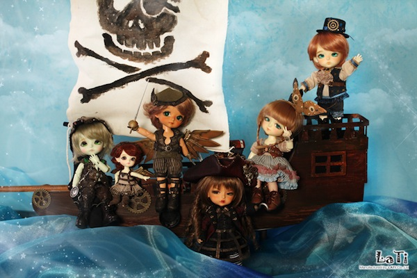 Dolls (from left) Crocodile, Tinker belle, Peter Pan, Captain Hook, Wendy, John