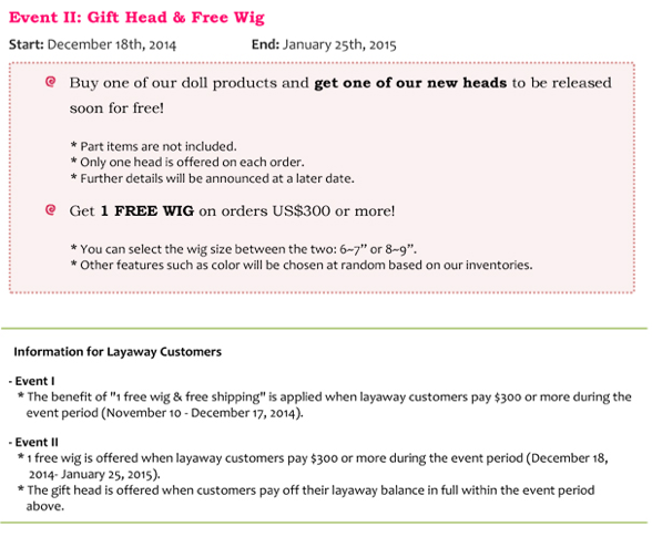 Gift Head and Free Wig Event