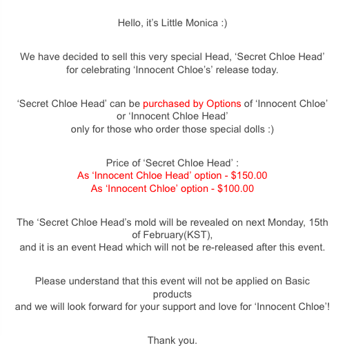 secret chloe head info