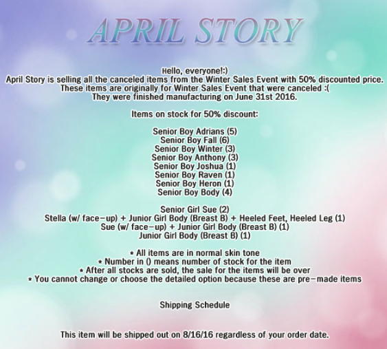 April Storyclearance